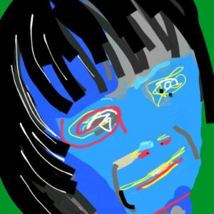 Digital artwork of a woman with blue face and black hair