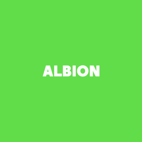 Holding image, which reads Albion on a green background