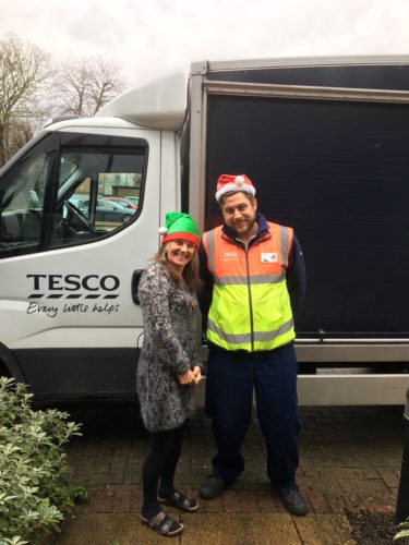 Liz Bentley and Xmas Tesco Delivery Man