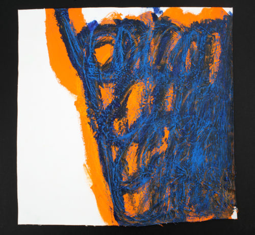 This image is of an Untitled work by the artist Michael Beard. It features orange and blue marks made by the artist on an unstretched canvas.