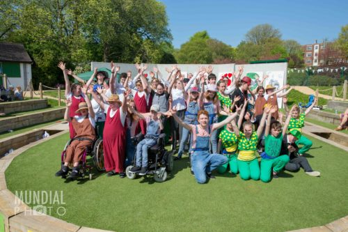 Cast from One Heart To Another celebrate the end of their show at Brighton Open Air Theatre