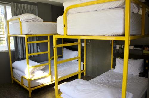Yellow bunk beds