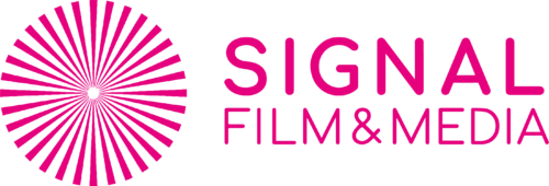 Featured Logo is a hot pink circle of rays projecting outwards next to the name Signal Film and Media