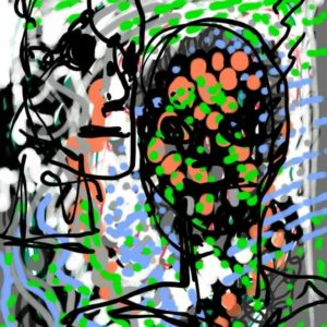 Digital artwork featuring two heads