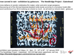 Exhibition flyer with word-based artwork