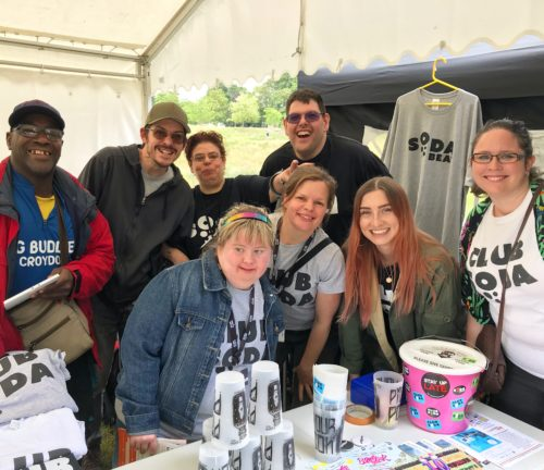 Gig Buddies team at a festival promoting the project