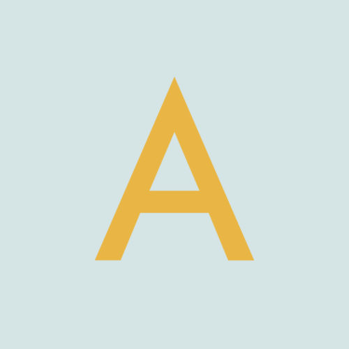 Acme logo, featuring a mustard yellow letter A on a duck egg blue background