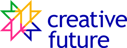 The words Creative Future are written in a dark blue with a multicoloured star mark