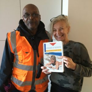 Liz Bentley with Tesco delivery man and 2020 diary