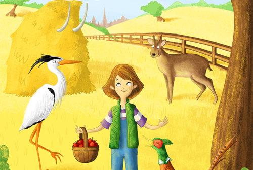 Illustration of girl on farm