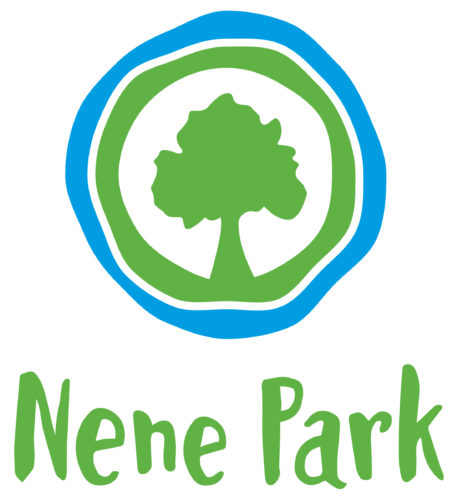 Nene Park Logo. A blue circle with a green circle within it which encloses a green tree.