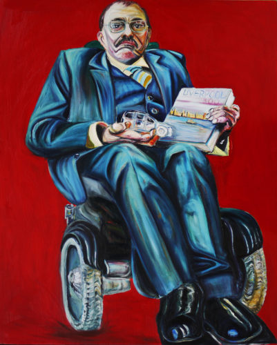 Oil painting of Sir Bert Massie CBE, seated in a powered wheelchair wearing a blue suit, holding a model car and a book titled Liverpool 800. The background is vivid red.