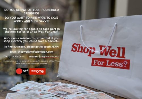 A white shopping bag with Shop well for less? on it sat on a table covered in £10 notes.