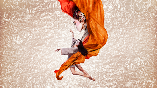 A yellow and orange drape of fabric intertwining the side profile of a geisha with flowers in her hair, above a dancing geisha with long flowing dark hair.