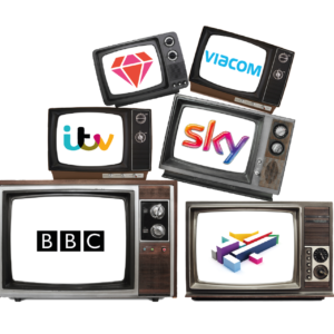 Collection of TV sets with the major UK broadcasters logos on each one