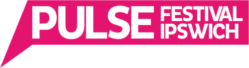 Pulse Festival Ipswich white lettering on a hot pink speech bubble