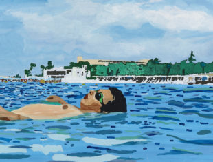 A painting of a person laying on their back in the sea with the beach and buildings in the background.