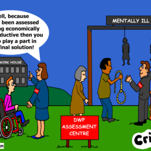 benefits and suicide cartoon