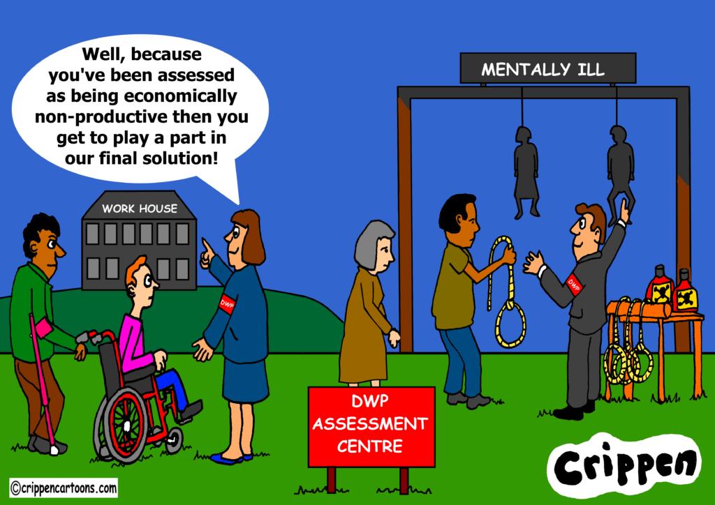 benefits and suicide cartoon