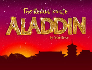 Aladdin - The Rockin Panto on a red and sparkly background