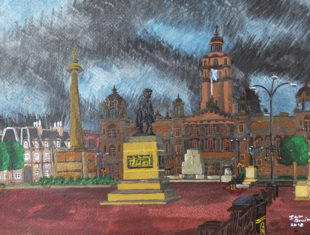 Painting of George Square in Glasgow by artist Ian Bruin