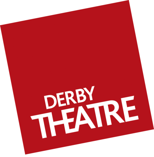 Derby Theatre logo. Derby theatre in white capital type in a red square which is set at an angle.