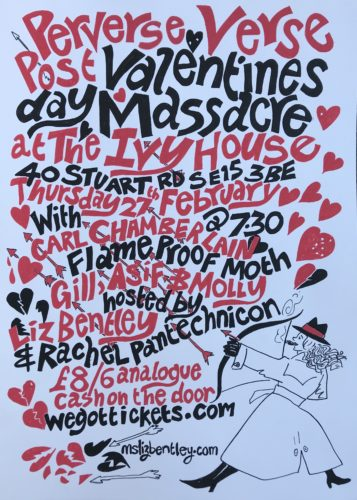Perverse Verse flyer for Anti Valenties day Massacre on 27th Feb