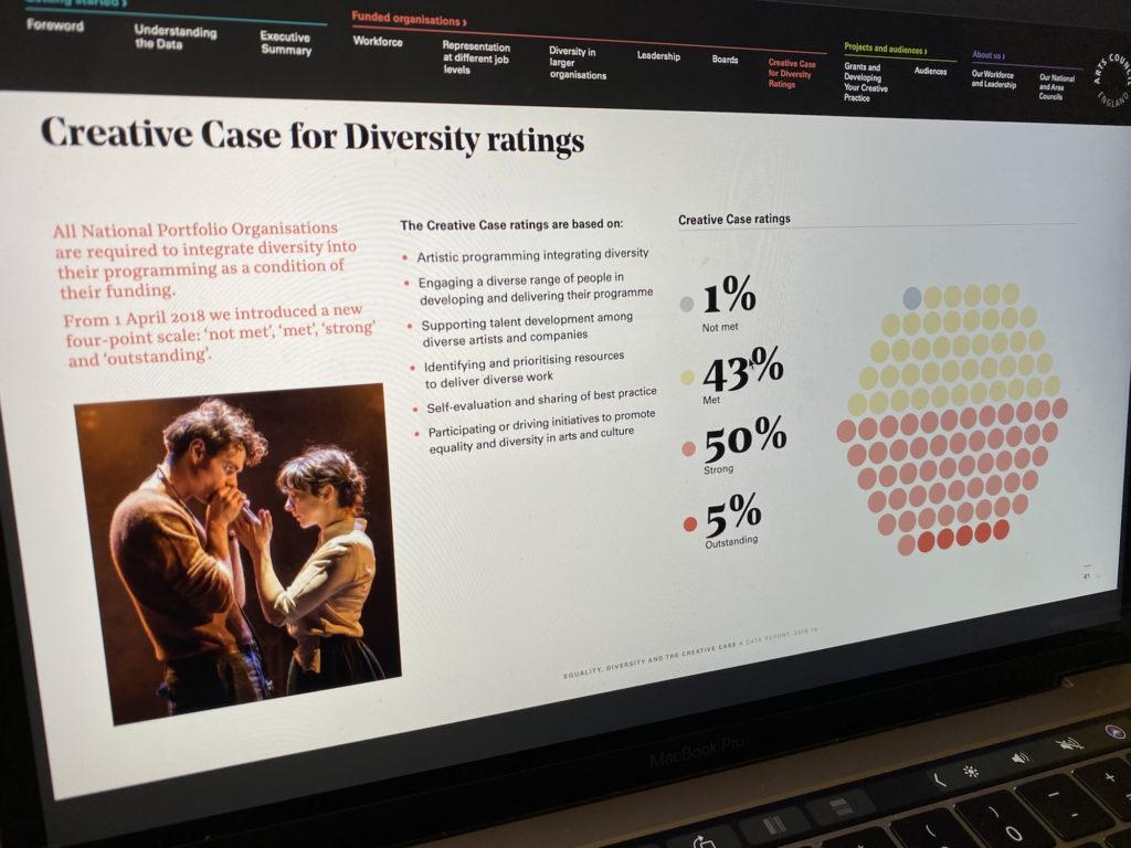 screenshot from arts council website
