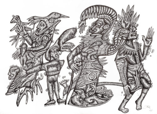 A biro drawing of some mythical creatures and men in traditional robe all covered in cross hatch marks.