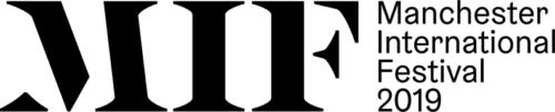 Manchester International Festival logo. Bold black MIF next to Manchester International Festival 2019.