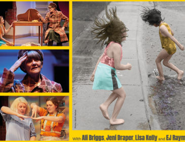 Two young children playing in the rain, splashing about, plus images of actors Ali Briggs, Jeni Draper, Lisa Kelly and EJ Raymond on stage