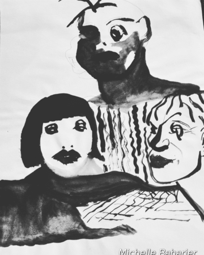 Black and white painting of three figures