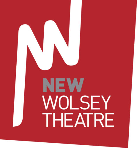 Red logo with New Wolsey Theatre in White Type