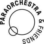 One large black circle, one smaller one bottom left. Around the outside reads Paraorchestra and Friends.