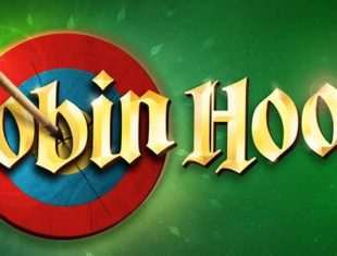 The title artwork of 'Robin Hood', featuring a bullseye target with a arrow piercing through, against a green backdrop with leaves flying around.