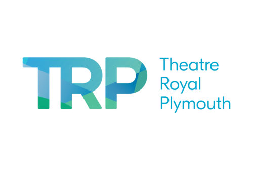 TRP in shade of blue and green. next to Theatre Royal Plymouth in blue.