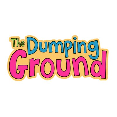 The Dumping Ground logo written in child like bubble writing. 'The' in green, 'Dumping' in blue and 'Ground' in pink on a beige background.
