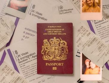 passport surrounded by scattered papers from visa application documentation, with images of a young couple