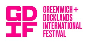 GDIF: Greenwich + Docklands International Festival in Pink on a white background.