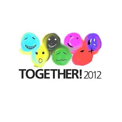 A series of coloured balloons with faces with organisation name Together 2012