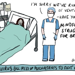 Cartoon of a patient lying in a hospital bed with a doctor in PPE standing to their right