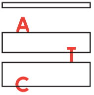 Actors Touring Company Logo. The black outline of 3 rectangles spaced out above each other, the top one is shorter in height. The letter A in red sits on top of the middle rectangle, the letter T in red sits on the bottom rectangle and C in red sits across the bottom edge of the bottom rectangle.