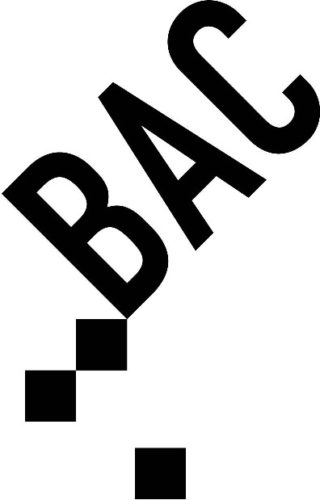 BAC logo. BAC in black on an angle above 3 black squares.