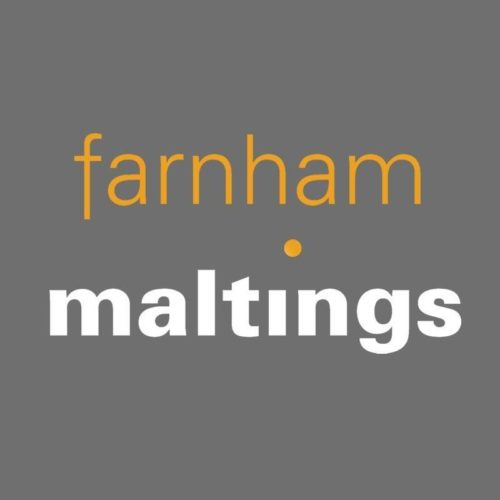 Fanham Maltings Logo. farnham in yellow above maltings in bold white with a yellow dot on the I.