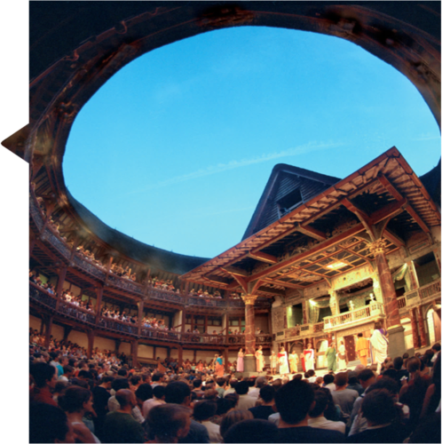 The view from the yard at The Globe theatre. There are many people stood in front of the stage watching a play.