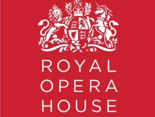 Royal Opera House in white capitals below a white coat of arms. All on a red background.