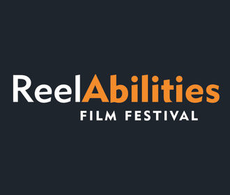 Reel in white next to Abilities in bold yellow type. Below in slightly smaller capitals is Film Festival in white. All on a dark grey backgound.