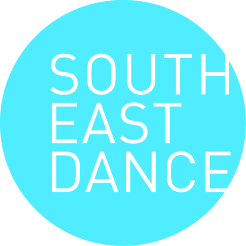 South East Dance logo. South East Dance in capital white type within a blue circle.
