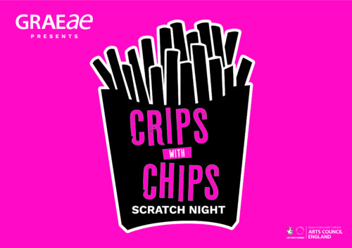 A graphic of a chip packet, against a bright pink background. Text on the chip packet reads Crips with Chips.