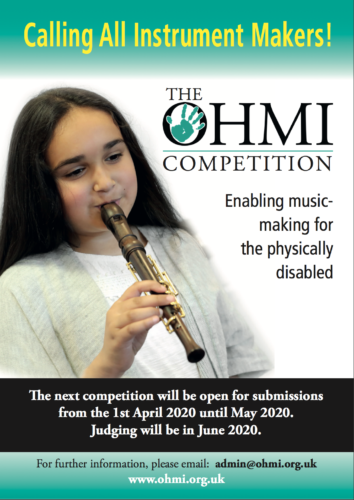 A poster for the competition. A girl plays an adapted descant recorder. Text reads - Calling all instrument makers! The OHMI Competition, enabling music making for the physically disabled.